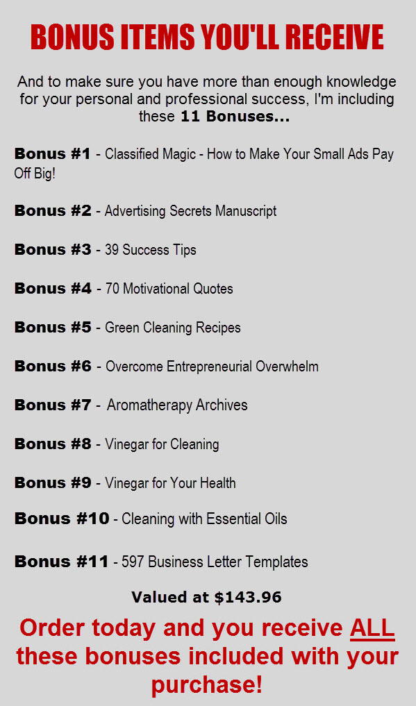 Start a Cleaning Business Bonus Items Image